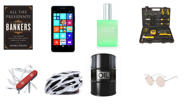 Figure 2: Common for the 8 items in the figure above is that these now (Mid April 2016) sell for $40 - $50 and they all required some energy input and/or used derivatives of crude oil to become commercial objects. NOTE: The price for several of the items is what was asking price at Amazon.com (costs for handling, shipping and customs may be added). Primarily refineries buy crude oil to turn it into commercial products like gasoline, diesel, kerosene, lubricants etc. One of the items in figure 2 is very special, and it is not the rose colored glasses.